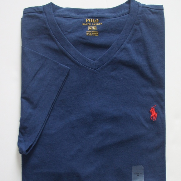 Polo Ralph Lauren Navy Blue Classic V-Neck Tee T-Shirt Red Pony NWT